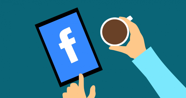 A cartoon person with a cup of coffee using Facebook on a tablet.