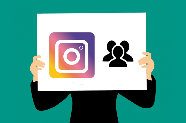 A cartoon person holding up a sign with an Instagram logo and a silhouette of people.