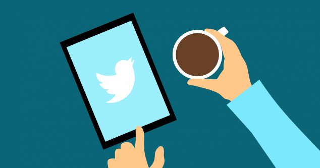 A cartoon person with a cup of coffee using Twitter on a tablet.